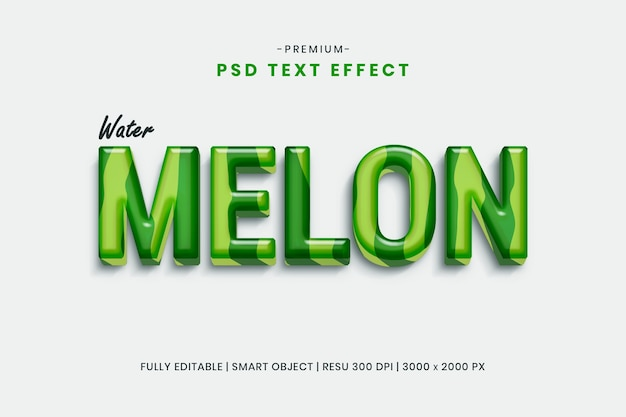 Wassermelone 3d texteffektschablone