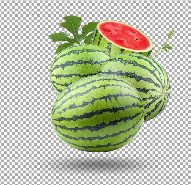 Wassermelonen mit geschnittener scheibe isoliert