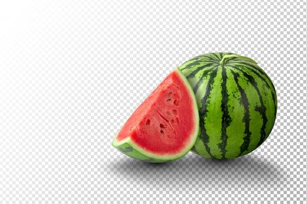 Wassermelonenscheiben und wassermelone