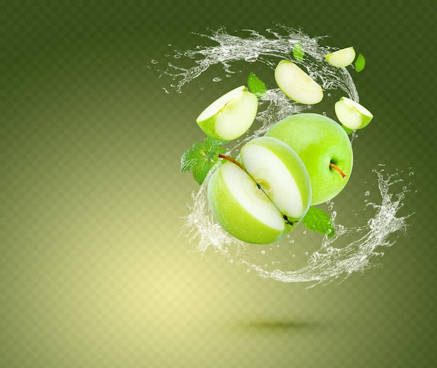 Wasserspritzer auf frischem grünem apfel mit minzeblättern lokalisiert auf grünem hintergrund. premium-psd