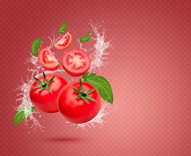 Wasserspritzer auf frischen tomaten mit isolierten blättern