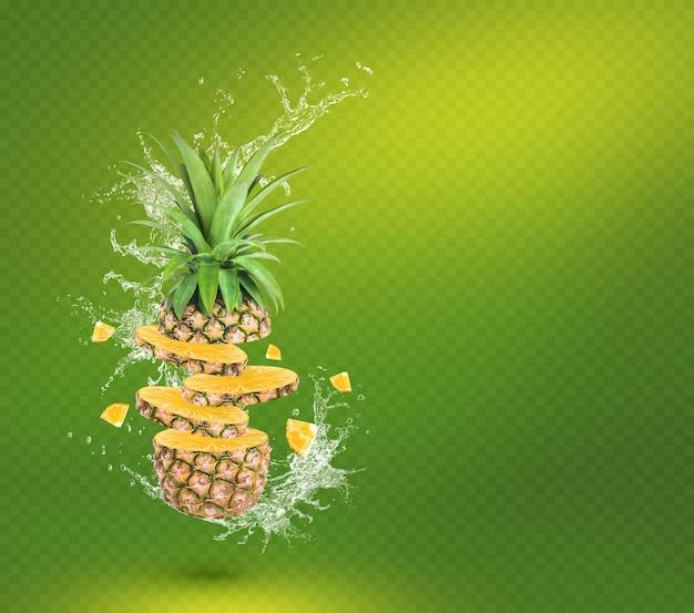 Wasserspritzer auf frischer ananas mit isolierten blättern