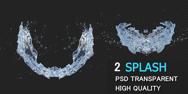 Wasserspritzer mit tröpfchen in der 3d-darstellung isoliert