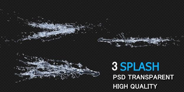 Wasserspritzer mit tröpfchenpackungsdesign isoliert