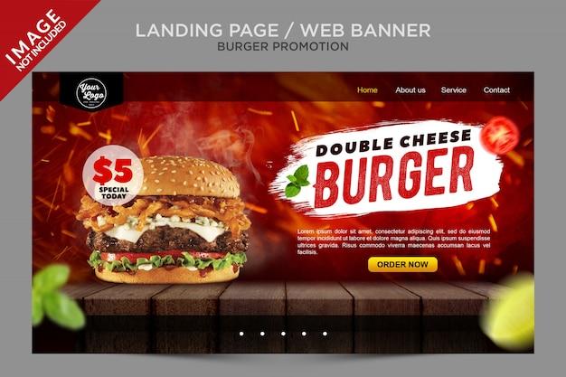 Web banner landing page burger promotion-serie