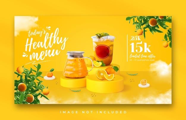 Web-banner-schablone für die gesunde getränkekarte