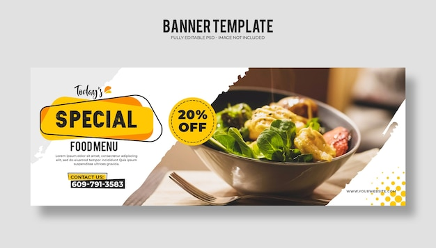 Web-banner-vorlage des lebensmittelrestaurants mit einem modernen eleganten design