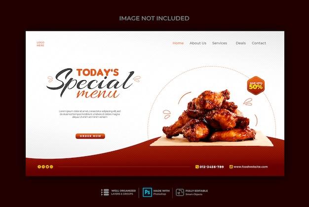 Web-banner-vorlage für gesundes essen oder restaurant