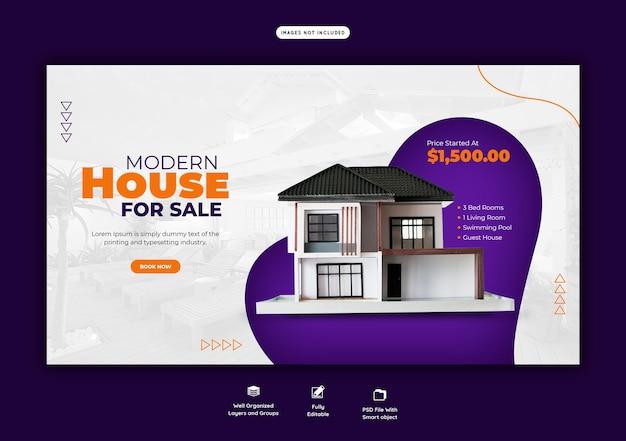 Web-banner-vorlage für immobilienhäuser