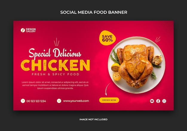 Web- und social-media-fast-food-restaurant-banner-vorlage