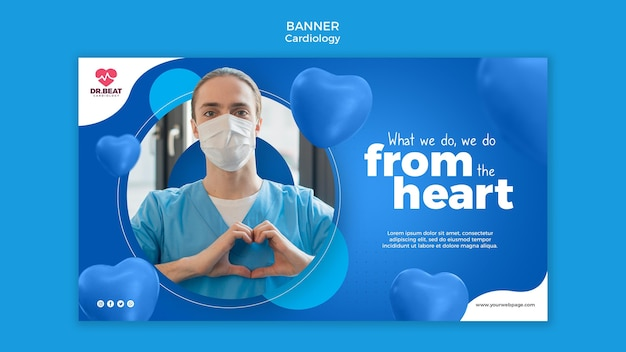 Web-vorlage für kardiologie-gesundheitsbanner