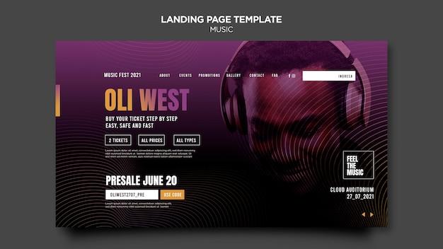 Web-vorlage für musik-landingpage
