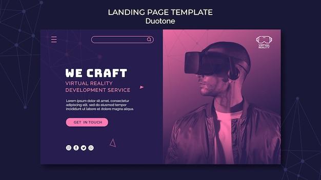 Web-vorlage für virtuelle realität in duotone