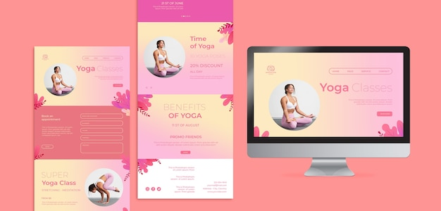 Web-vorlagen für yoga-lektionen