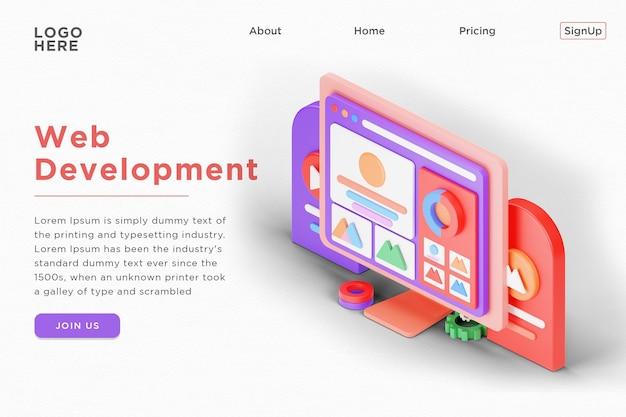 Webentwicklung landing page design 3d isometrische darstellung psd vorlage