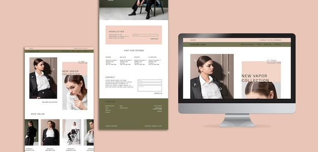 Webseite für minimalistisches online-modegeschäft