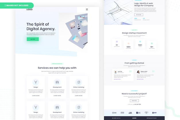 Website-seite der digitalen agentur