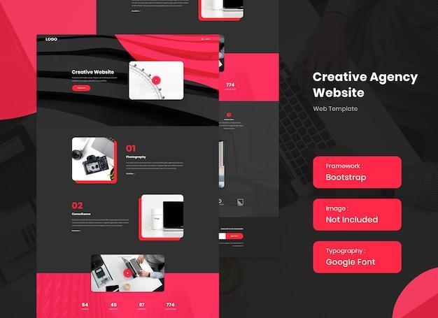 Website-vorlage der kreativagentur im dunklen modus