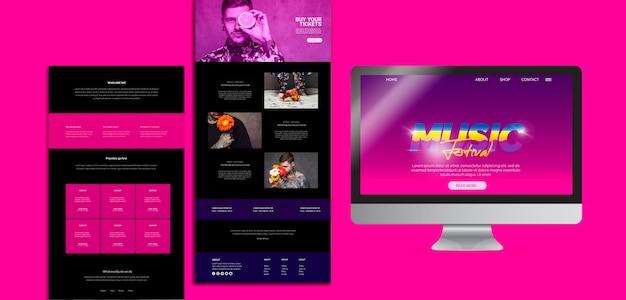 Website-vorlage für 80er jahre musikfestival