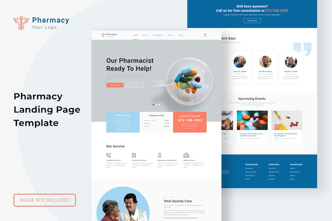 Website-vorlage für die apotheken-landingpage