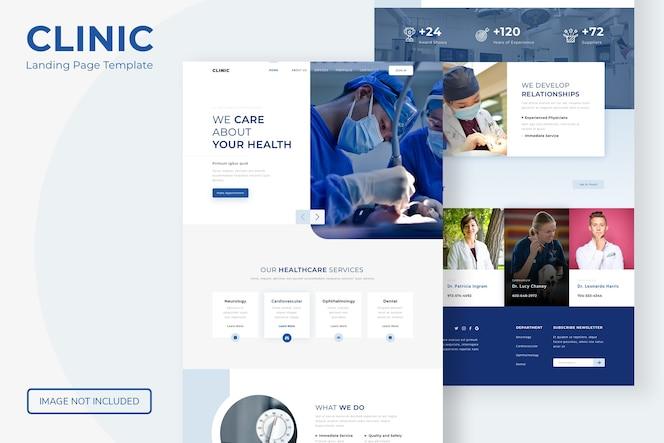 Website-vorlage für die zielseite der klinik