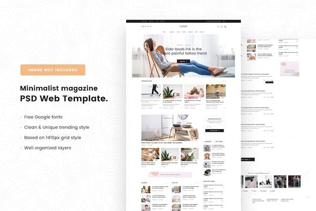 Webvorlage für minimalistische magazine