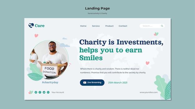 Webvorlage für soziale aktivitäten und wohltätigkeit