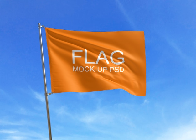 Wehende flagge mock-up