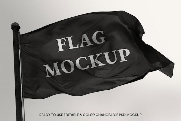 Wehende flagge psd-modell mit designbereich