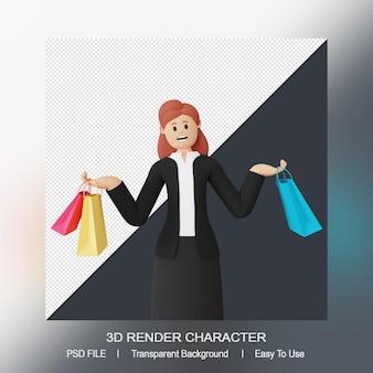 Weibliche 3d-figur mit einkaufstasche