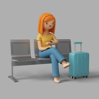 Weibliche figur 3d, die die zeit beim sitzen am flughafen prüft