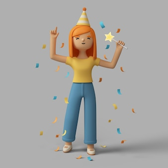 Weibliche figur 3d, die mit parteihut und konfetti feiert