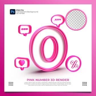 Weibliche nummer 0 3d render rosa farbe