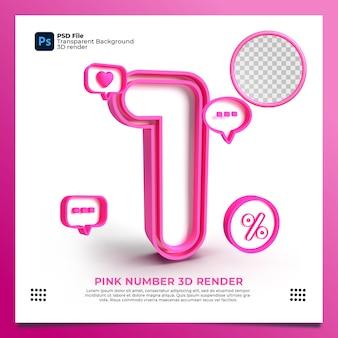 Weibliche nummer 1 3d render rosa farbe