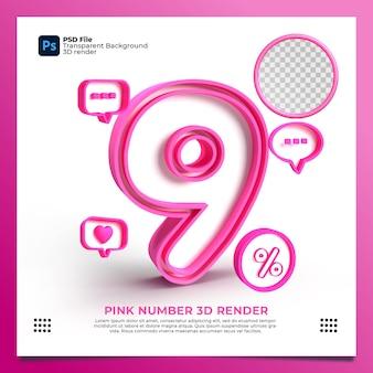 Weibliche nummer 9 3d render rosa farbe mit element