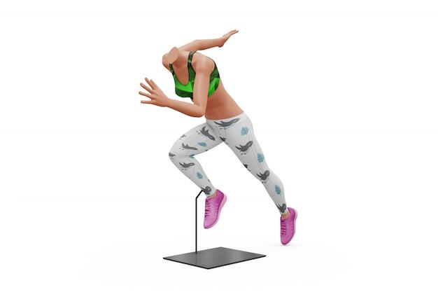 Weibliches sportausstattungs-modell lokalisiert
