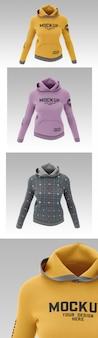 Weibliches sweatshirt hoodie mockup
