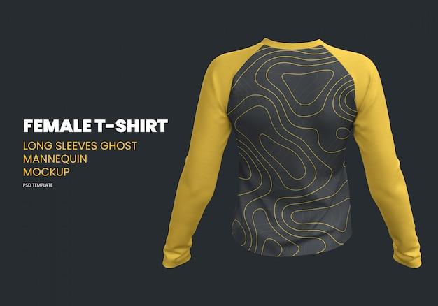 Weibliches t-shirt mit langen ärmeln ghost mannequin mockup
