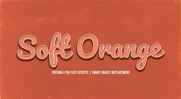 Weicher orange art-effekt des text-3d