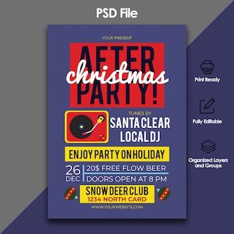 Weihnachten nach party flyer vorlage