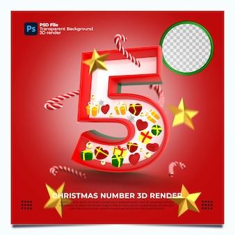 Weihnachten nummer 5 3d render mit rot-grünen goldfarben und elementen
