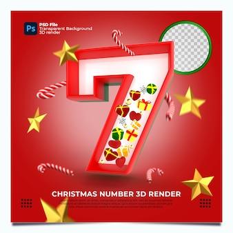 Weihnachten nummer 7 3d render mit rot-grün-goldenen farben und elementen