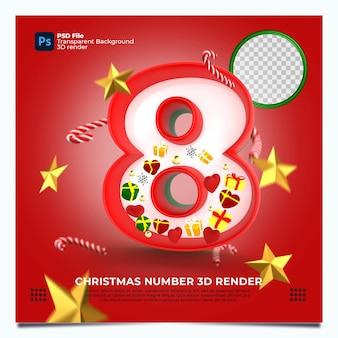 Weihnachten nummer 8 3d-render mit rot-grün-goldenen farben und elementen