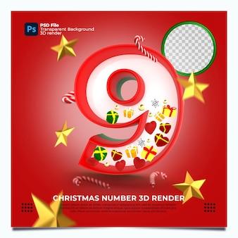 Weihnachten nummer 9 3d render mit rot-grün-goldenen farben und elementen