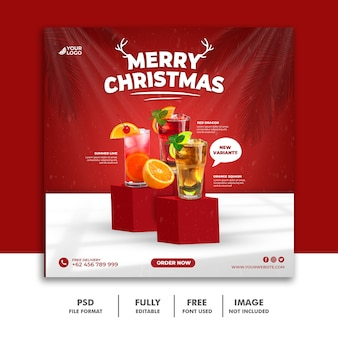 Weihnachten social media post square banner vorlage