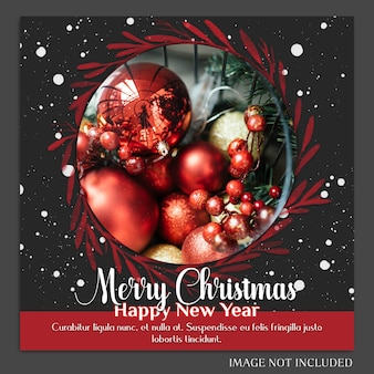 Weihnachten und ein glückliches neues jahr 2019 foto mockup und instagram post template