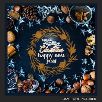 Weihnachten und ein glückliches neues jahr 2019 foto mockup und instagram post
