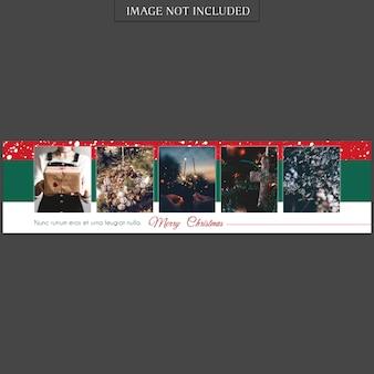 Weihnachten und ein glückliches neues jahr banner vorlage und foto mockup