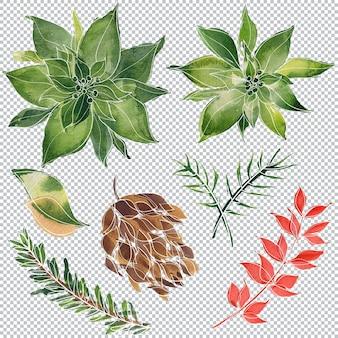 Weihnachten und neujahr floral aquarellelemente, geschichtete illustration