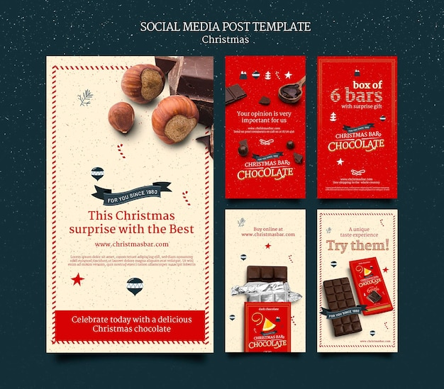 Weihnachts-schokoladen-instagram-geschichten-set